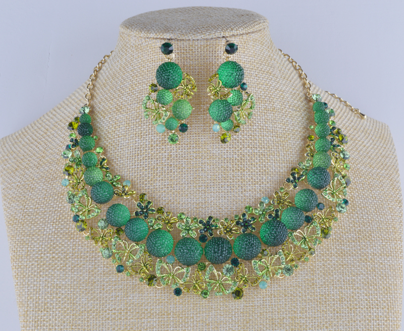 Luxury Necklace earrings set shambhala ball African coral Green beads wedding party rhinestone crystal jewelry sets rhinestone glass ball dry sakura earrings