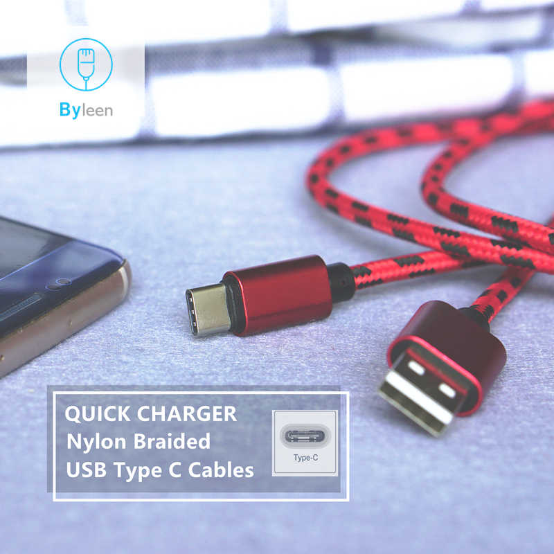 Byleen USB Type C Cable Nylon USB C Charger For Huawei Honor Play OPPO Find X Xiaomi mi 8 VIVO NEX Asus zenfone 5z Yotaphone 3