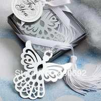 Ангел крест Дизайн металлические закладки белый шелк кисточкой свадьбы пользу душа ребенка подарок на вечеринку в честь Дня рождения сувен...