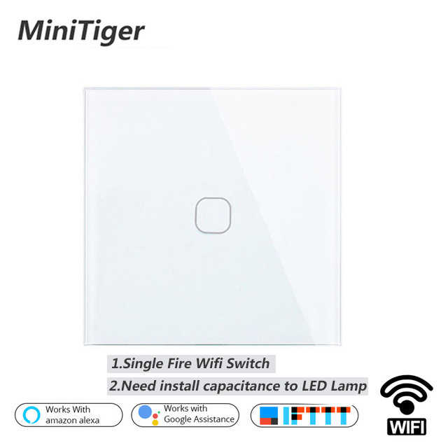 Minitiger EU/UK Smart Wifi Wall Light Touch Switch 1 2 Gang Touch/WiFi/433 RF/APP Remote Smart Home Wall Touch Switch
