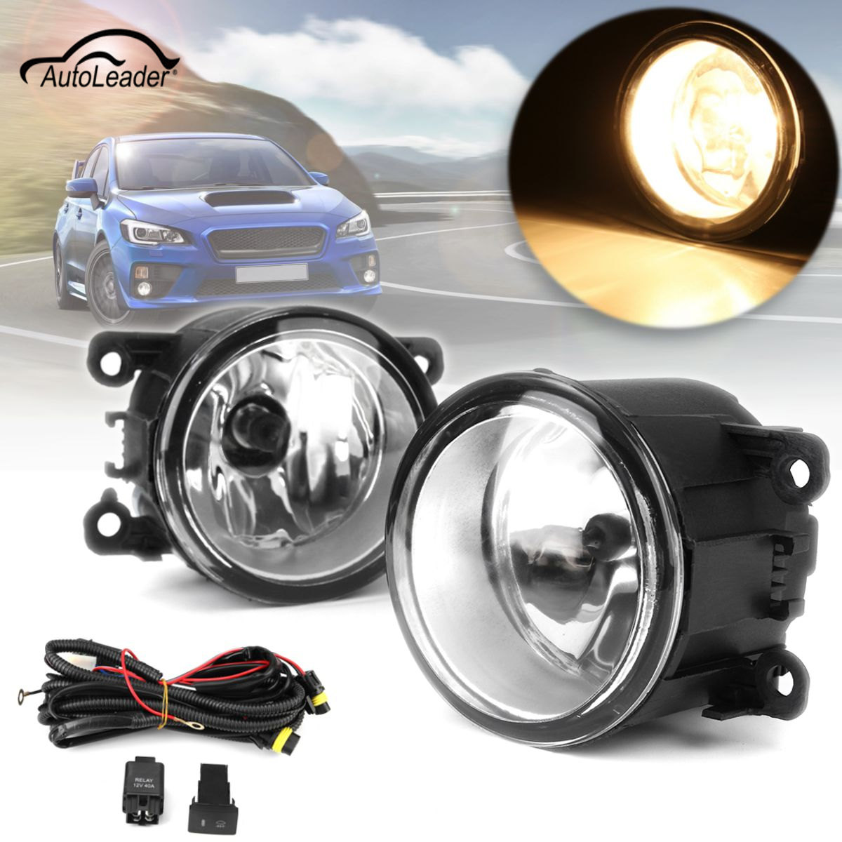 For /WRX/WRX STI/XV 1 Pair H11 Car Front Fog Light Clear Lens With Wiring Kit car fog lights lamp for mitsubishi triton 2 door 2009 on clear lens pair set wiring kit fog light set free shipping