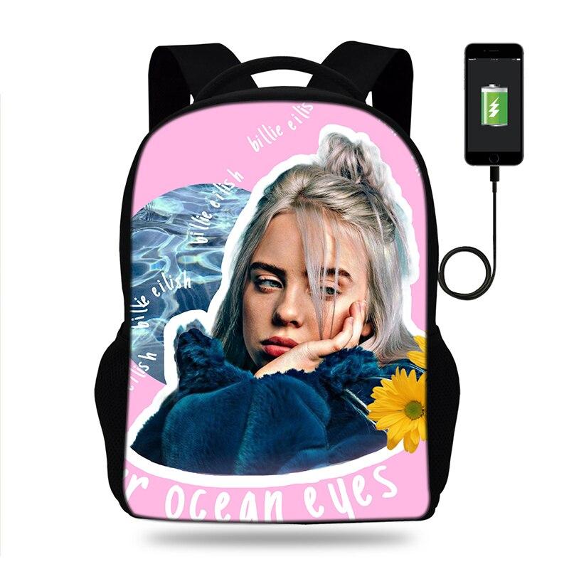 Girls Billie Eilish Hot Music Singer Print SchoolBags Backpacks Satchel For Kids Orthopedic Mochila Escolar Usb Charge Book Bag