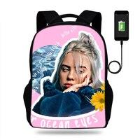 Kızlar Billie Eilish Sıcak Müzik Şarkıcı Baskı Okul Çantaları sırt çantaları satchel çocuk ortopedik mochila escolar Usb Şarj kitap Çantası