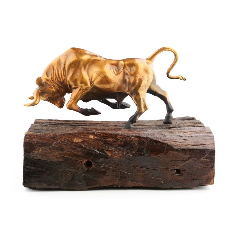 High Quality Artwork Vintage Bull Crafts Ornaments Boat Wooden Base Living Room Decorations