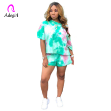 цена на Adogirl Tie Dye Colorful Casual Two Piece Set Short Sleeve T Shirt Top + Shorts S-2XL Women Tracksuits Fashion Fitness Outfits