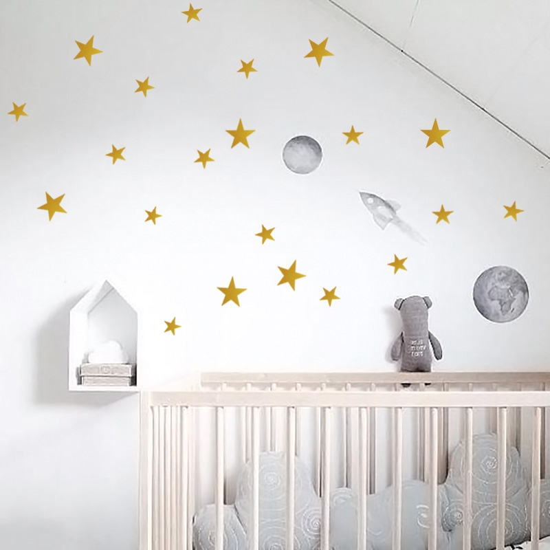 Us 1 8 30 Off Gold Stars Wall Sticker For Kids Room Baby Nursery Stickers Bedroom Children Decals Art Wallpaper Home Decoration In