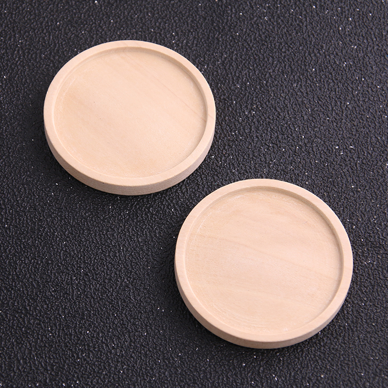 2pcs 40mm Inner Size Wood Color Round Wood Cabochon Base Setting Charms Pendant Necklace Findings