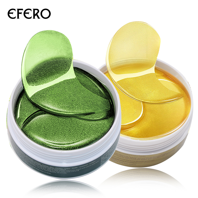 EFERO 120pcs Collagen Crystal Eye Mask Green Gel Eye Patches Anti Wrinkle Eye Bags Dark Circles Puffy Sleep Masks Pads Face Mask kongdy 4 bags lavender eye steam mask hot warming eye mask for tired eyes relaxing remove dark circles masks massage relaxation