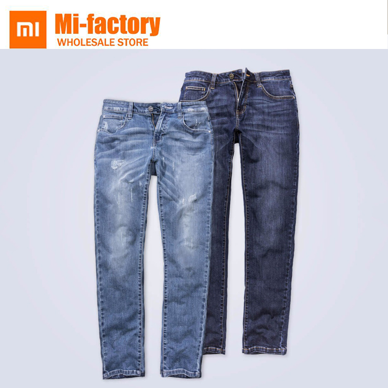 New Xiaomi 90 Stretch Men Jeans Men's Comfortable Leisure Not easily deformed Denim Trousers Straight Deep blue Gentleman Mens fashion summer new tide brand men s jeans straight embroidered holes jeans men denim blue ripped jeans trousers