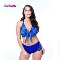 Faerdasi Women Plus Size Bikini Set Bandage Floral Print Bathing Suit Swimsuit Women Retro Vintage Swimwear