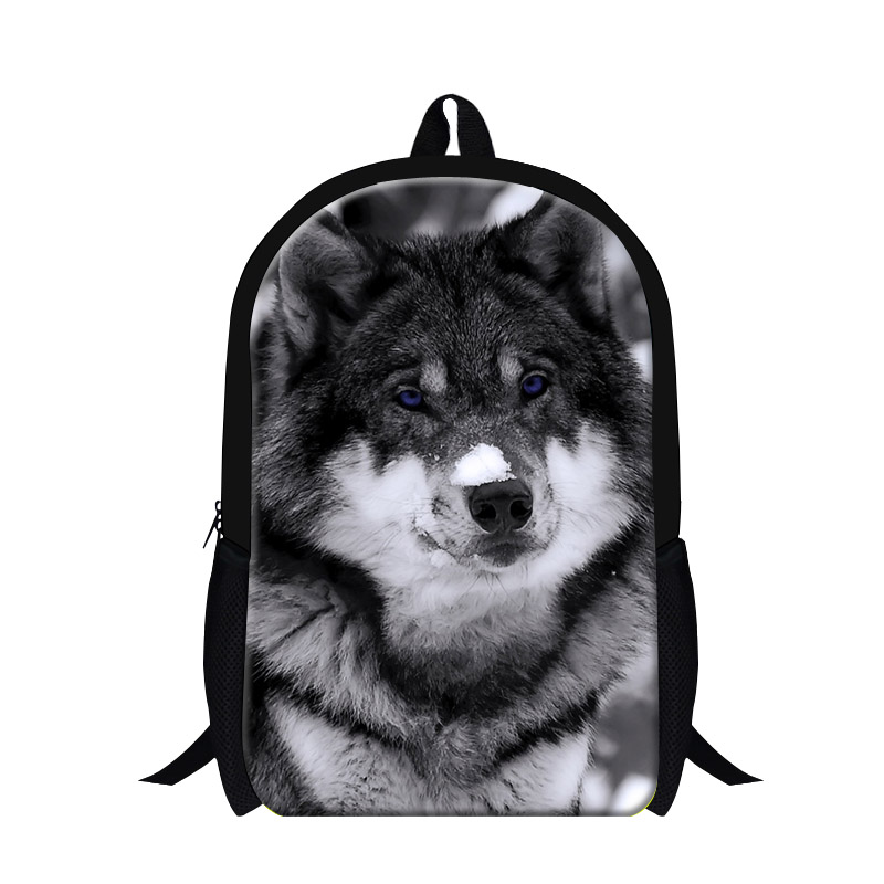 Personalized School Backpack for boys, Wolf 3D printing childrens bookbags,cool mens day back pack,wolf in snow pattern design