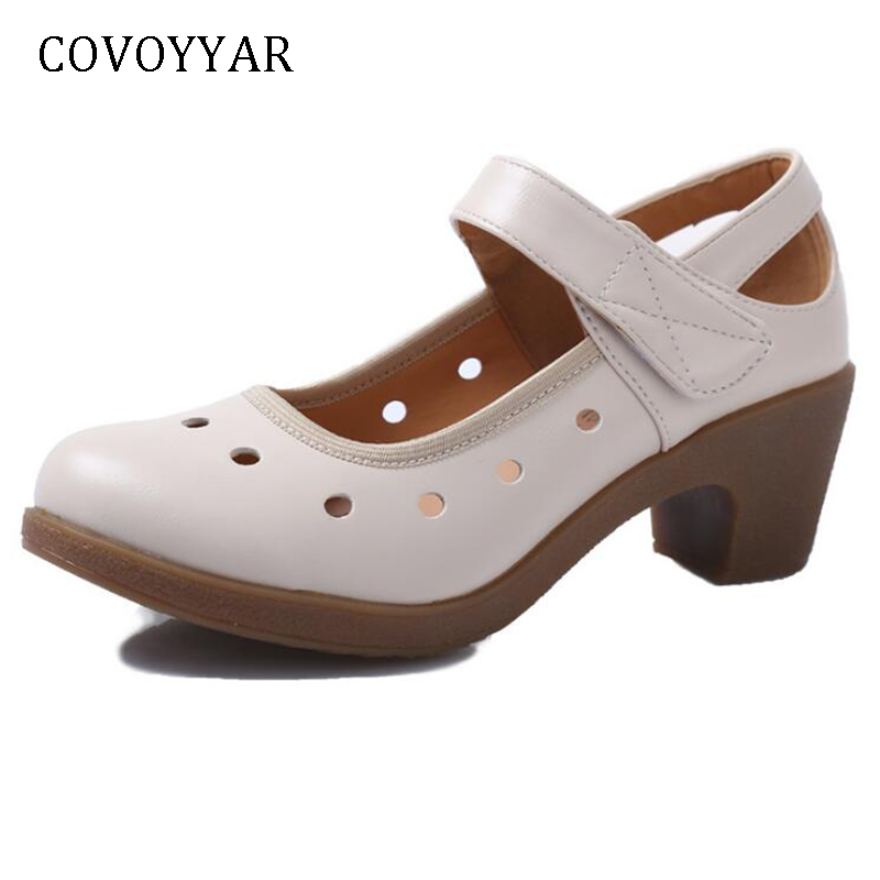 COVOYYAR 2019 Cut Out Women Pumps Breathable Women Shoes Hook Loop Thick High Heels Soft Mary Janes Dancing Shoes 41 WHH687