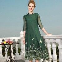 Шелк хлопок с вышивкой в китайском стиле свободные праздничное платье 2018 новый для подиума Женская летняя обувь платье высокого качества о