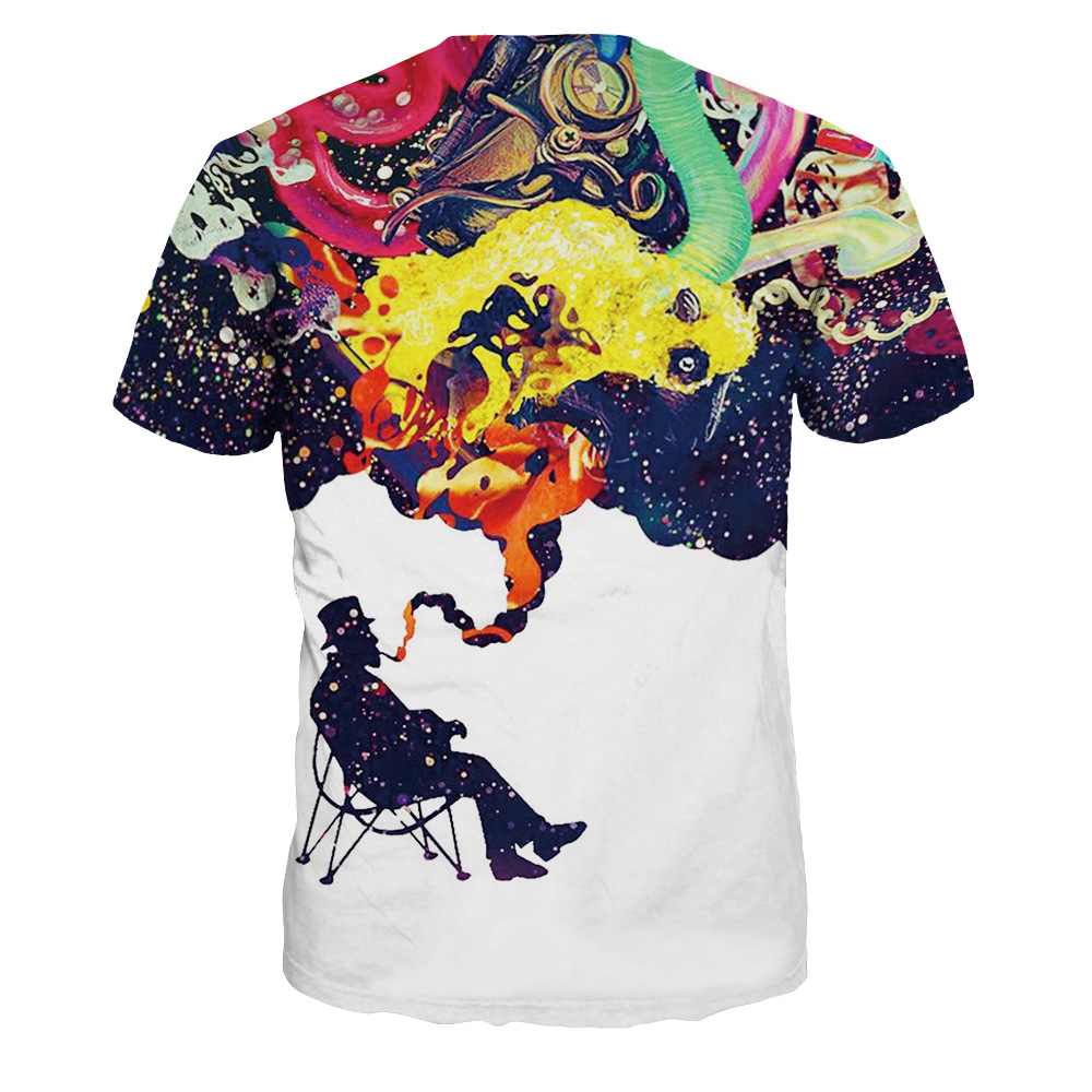 9e0b4729 New Fashion 3d T Shirt Wanita Tee Lucu Cetak Colorful Asap Merokok Tee  Kemeja Harajuku Lengan Pendek Musim Panas Tops Tshirts di T-shirt dari Pakaian  Wanita ...