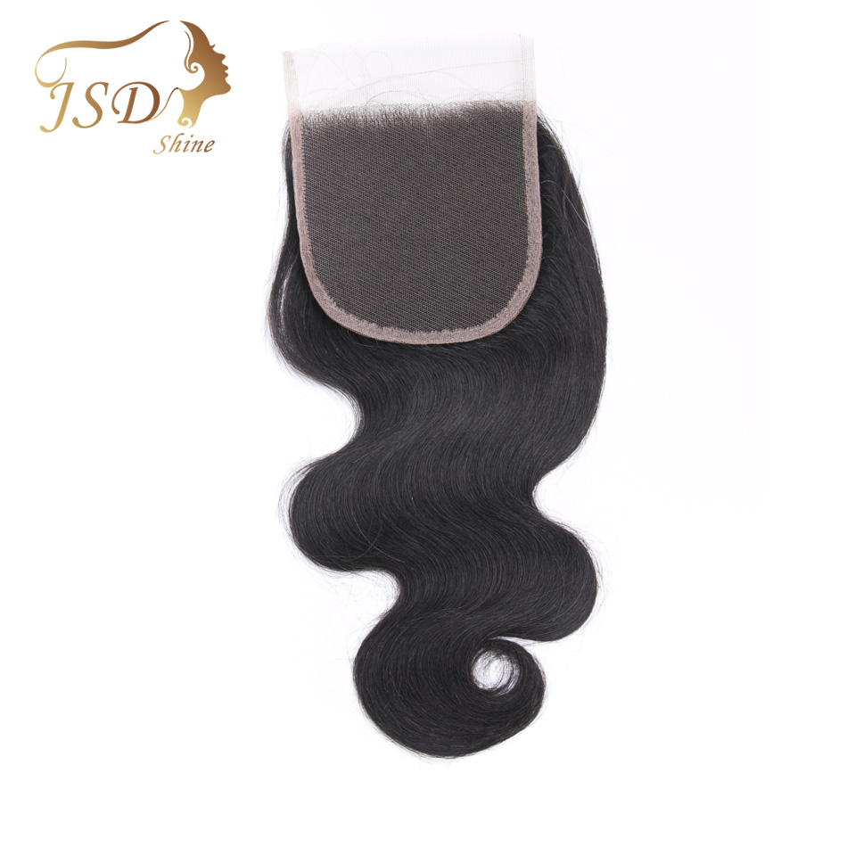 JSDShine 4*4 Lace Closure Brazilian Body Wave Human Hair Free Part 130% Density Natural Color 8-20 Inch Remy Hair Extensions