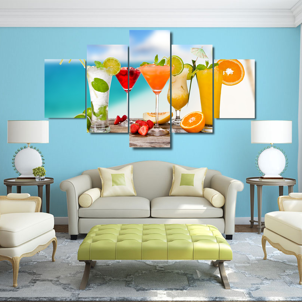 Canvas HD Prints Painting Kitchen & Restaurant Decor Fruit Drink ...