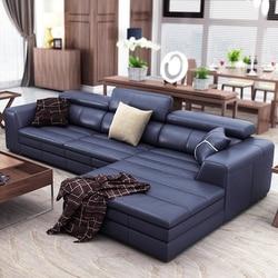 أريكة علوية من الجلد الطبيعي/الطبيعي مقسمة لغرفة المعيشة أريكة ركن أثاث منزلي أريكة على شكل حرف L مسند ظهر عملي طراز حديث