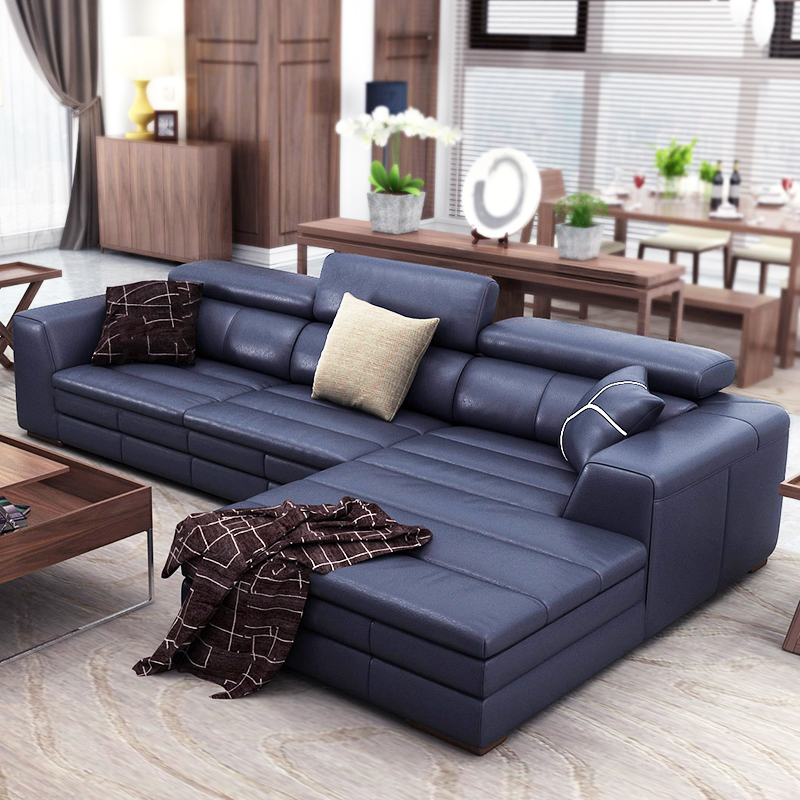Top Genuine Real Leather Sofa Sectional Living Room Corner Home Furniture Couch L Shape Functional Backrest Modern Style