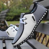 Zapatos casuales hombres 2019 nuevos zapatos de cuero de PU transpirables de moda hombres Zapatillas Zapatos planos hombres tenis masculino adulto