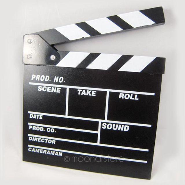 Giám đốc Video Acrylic Tấm Gỗ Nhỏ Xóa Khô TV Movie Film Lươi Ban Slate với Màu Sắc Gậy 20*20 cm