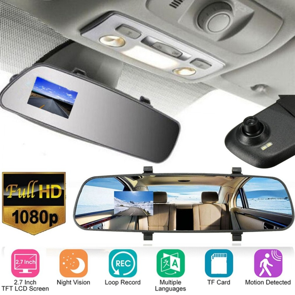 2.7-Inch Full HD 1080P LCD Car Camera Dash Cam Video Recorder Rearview Mirror Vehicle DVR Night Vision Camcorder