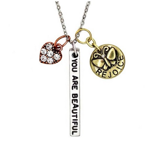 Simple Truths ''You Are Beautiful'' Pendant Necklace Three Tone Charm Necklace With  Heart &Butterfly Great Sports Fan Jewelry