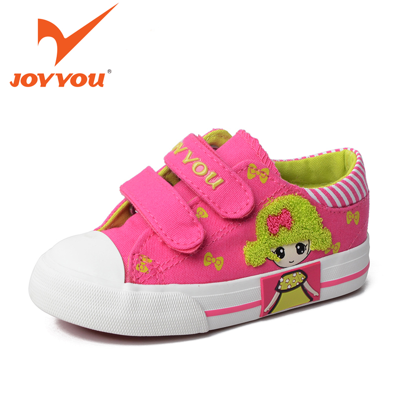 JOYYOU Brand Kids Shoes Girls School Sneakers Children Teenage Hook Footwear Baby Toddler Pink Shoes For child Fashion canvas