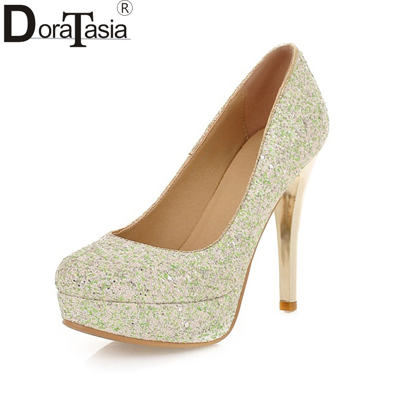 DoraTasia  Wholesale Top Quality Plus Size 34-43 Platform Bling Upper Slip On Wedding Bride Shoes Pumps Thin high-heeled