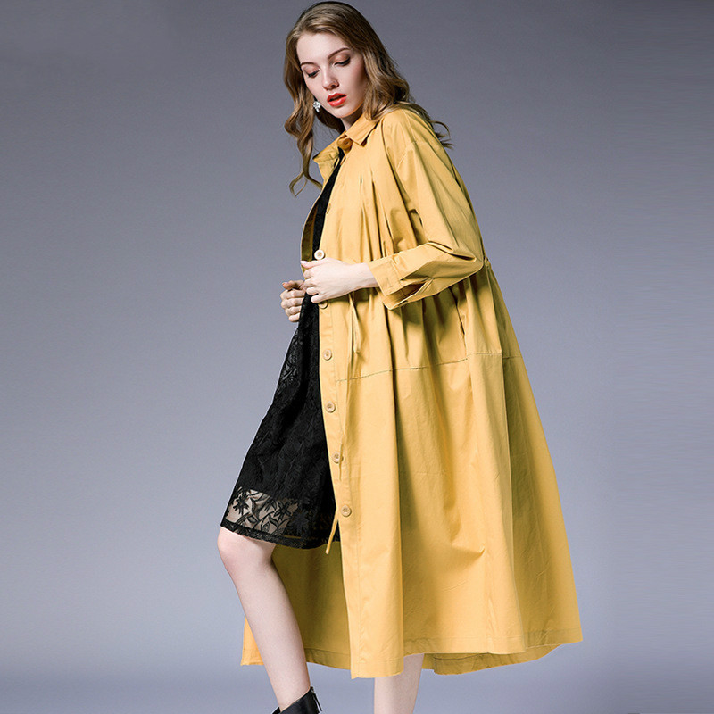 Noir Lady La Poitrine vent Vêtements De Office Style Tp7028 Printemps Solid Taille Coupe kaki Unique Femmes Tranchée Manteau Slim Automne Long Plus qAxznABR