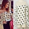 Женщины отвесные шифон блузка марли сетки рубашка в форме сердца печать с длинным рукавом топы горячая