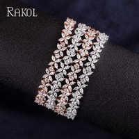 RAKOL Delicate Cut CZ Stones Leaves Dazzling Fashion Chain Bracelets For Women Silver Color/Rose Gold Jewelry RB0946K