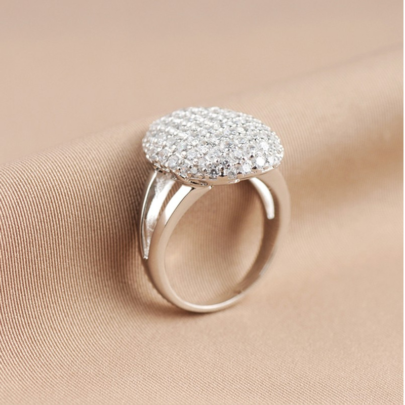 Real Women 925 Sterling Silver Full Zircon Wedding Engagement Ring Micro-Pave Setting Tiny Stones Twilight Bella Ring