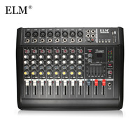 ELM 8 Channel Digital Audio Mixer Console Karaoke Microphone Sound Mixing Amplifier Built in 48V Phantom Power With USB Switch