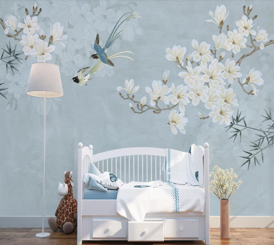 Beibehang Custom Wallpaper Photo Chinese Style Magnolia Bird Figure Sofa TV Background Wall Home Decoration 3d Wallpaper Murals