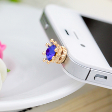 600pcs/lot Colorful Crystal Elegant Crown Shape For Iphone For Samsung And For All 3.5MM Universal Earphone Anti Dust  Plug