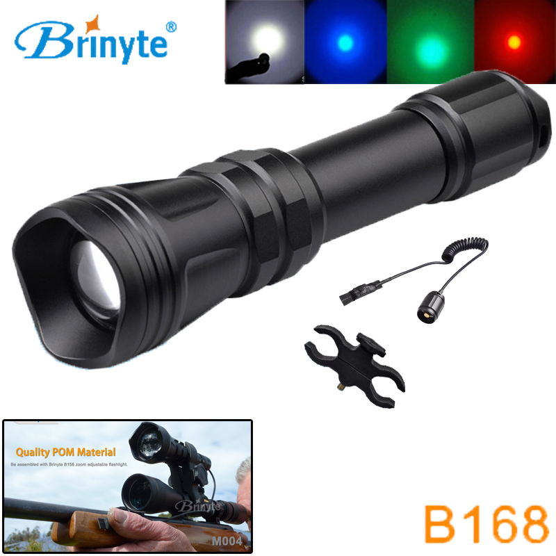 Brinyte B168 Hunting Flashlight LED Cree XM-L2 U4 Zoomable RED GREEN White Tactical Flashlight Torch w Gun Mount Remote Switch uniquefire 1405 xpe green red white light led flashlight portable zoomable torch remote pressure to remote control lamp