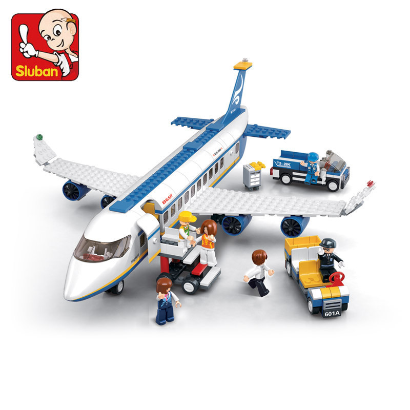 Sluban Blue Airbus Airplane Model Building Blocks 483pcs/set DIY Educational bricks toys Compatible with Lego