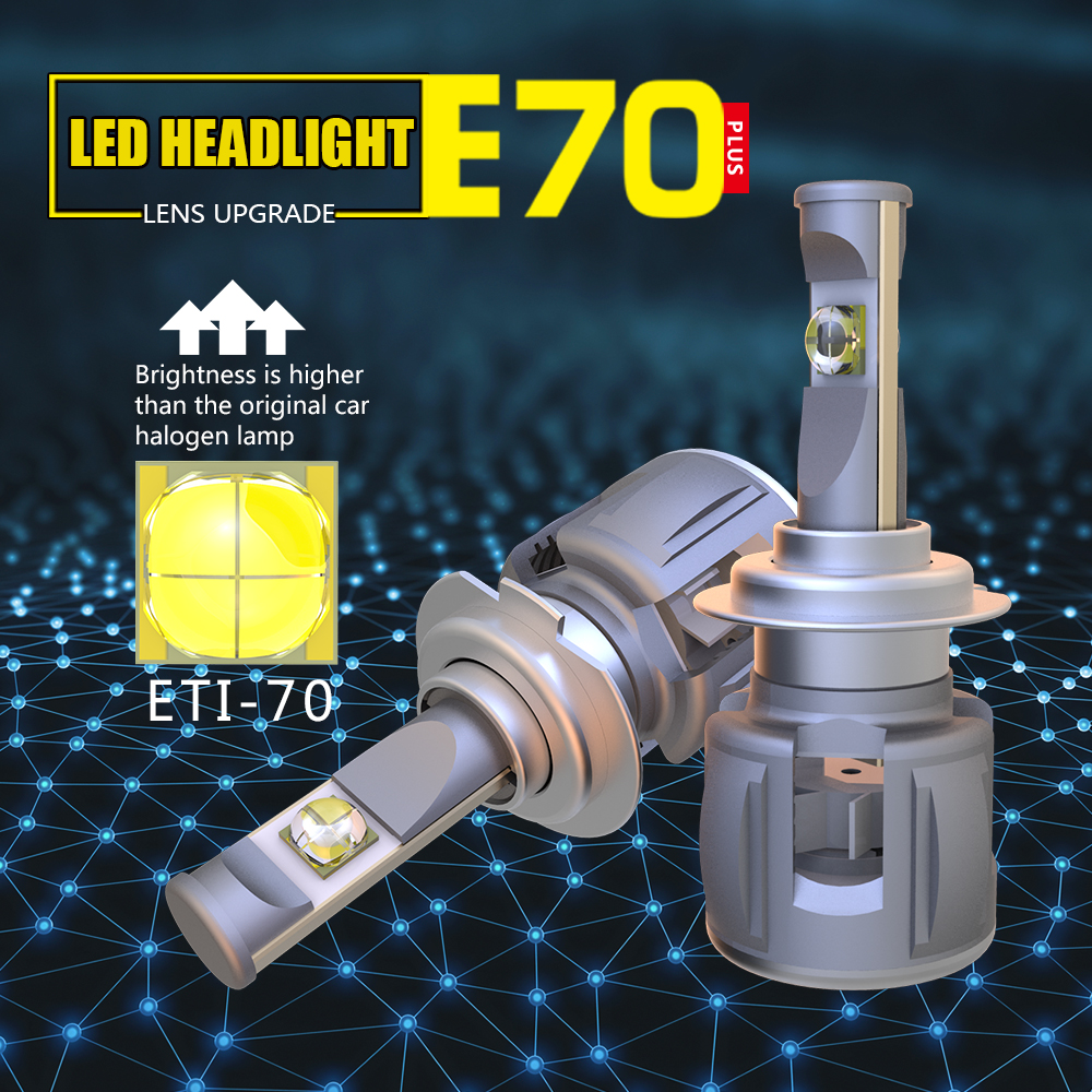 1 Set H7 120W 12000LM ETI 70 Lens Chips E70 Car LED Headlight Front Lamp Bulbs