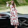 2017 nueva llegada del verano flor dimensional apliques ganza flare vestidos de las mujeres de manga ronda de cuello largo maxi dress