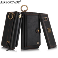With Lanyard Multifunction Metal Ring Zipper Card Wallet Phone Case for Samsung Galaxy Note 8 Leather Case Note8 N950 Back Cover
