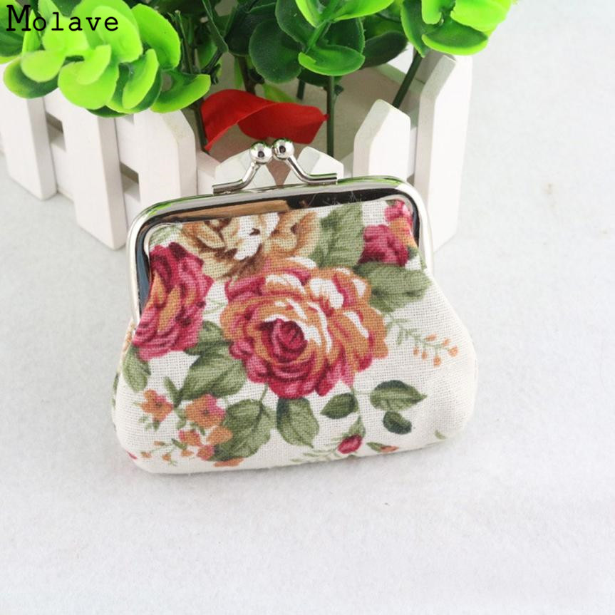 MOLAVE Coin Purse Women Lady Retro Vintage Flower Small Wallet Hasp Printing Floral Clutch Bag Good Gift NOV28 drop shipping ...