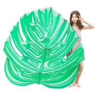 Inflatable green leaf floating row leaves pool float inflatable bed women water lounge chair air mattress pool swimming ring