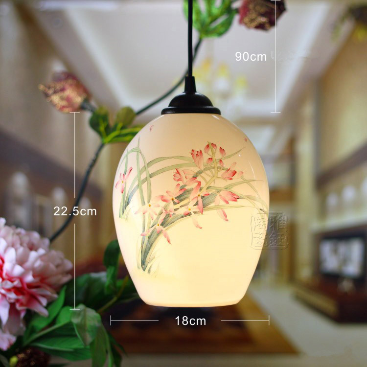 Chinese Style Beautiful E27 AC85-265V Ceramic Hand-painted Pendant Lamps Kitchen Creative Warm Lighting Fixture beautiful darkness