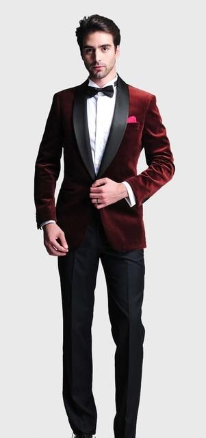 High Quality Dark Red Velvet Mens Suits Groom Tuxedos Groomsmen Wedding Party Dinner Best Man Suits (Jacket+Pants+Tie) K:2309