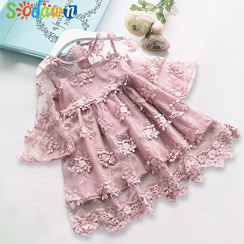 Sodawn 2018 Spring Summer Children's Clothing Baby Girl Princess Dress Lace Short Sleeve Flower Embroidery Design Girls Dress