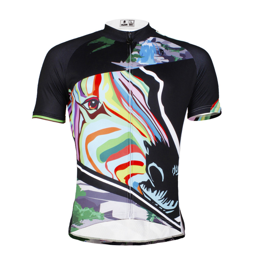 Colored Zebra Pattern Men's hot Breathable top Sleeve Cycling Clothing And Bike Clothes Set BIKE ILPALADIN 2016 new men s cycling jerseys top sleeve blue and white waves bicycle shirt white bike top breathable cycling top ilpaladin