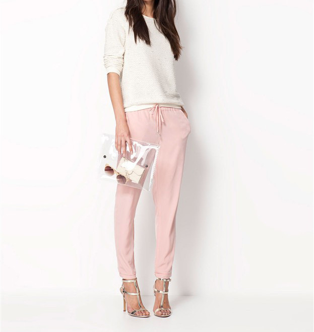 Chiffon Elastic Waist Solid Color Office Pants 1