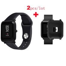Купить с кэшбэком for Xiaomi Huami Amazfit Bip Lite Smart Watch Bracelet Strap Silicone Pulsera Correa Band for Amazfit Bip Wrist Protective Case