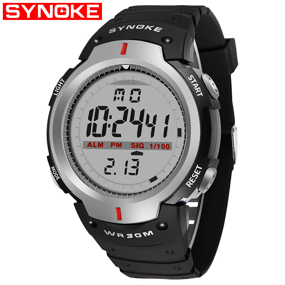 SYNOKE Watches Men 30M Waterproof LED Digital Watch Men Outdoor Mens Sports Wrist Stopwatch Relojes Hombre Dijital Kol Saati