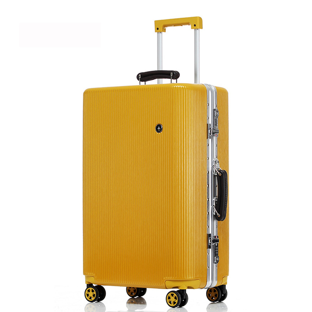 """20 """"24"""" 26 """"28"""" White Silver Pink Gold Black Aluminum frame and PC travel trolley case hardside rolling luggage suitcase with wh"""